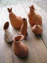Selection of sculptured terracotta vessels